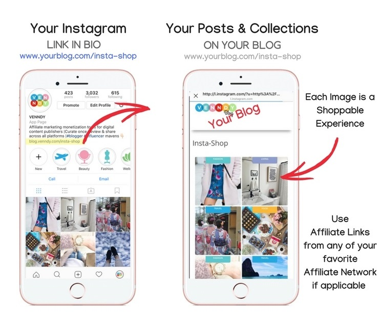VENNDY Insta-Shop Tab - Make your Instagram shoppable with links